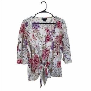 The Limited 100% Silk White Floral Tie Wrap Top
